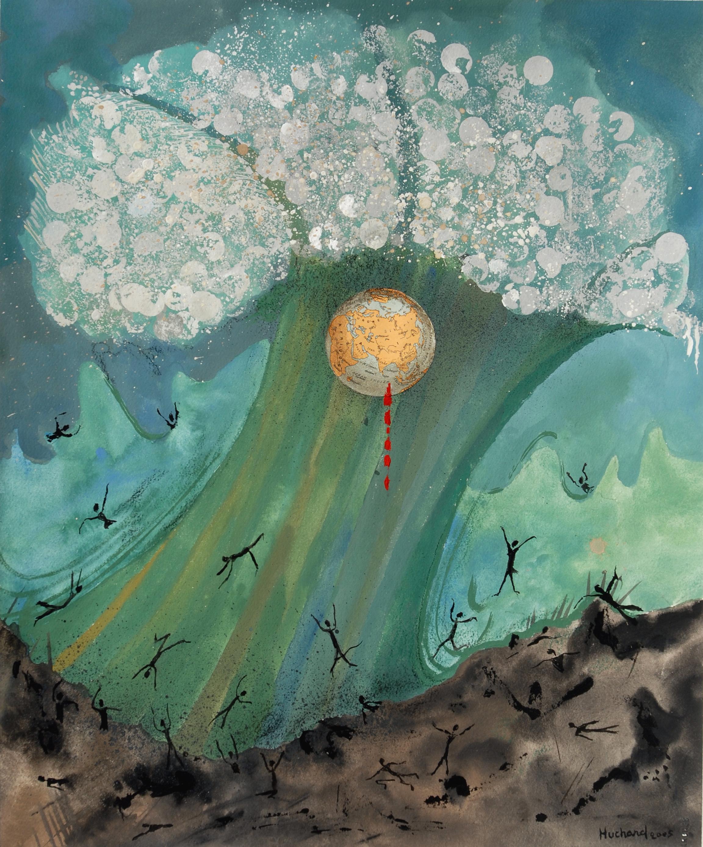 """""""Tsunami"""" – 2004 Gouache 51x¬60 cm -Huchard"""