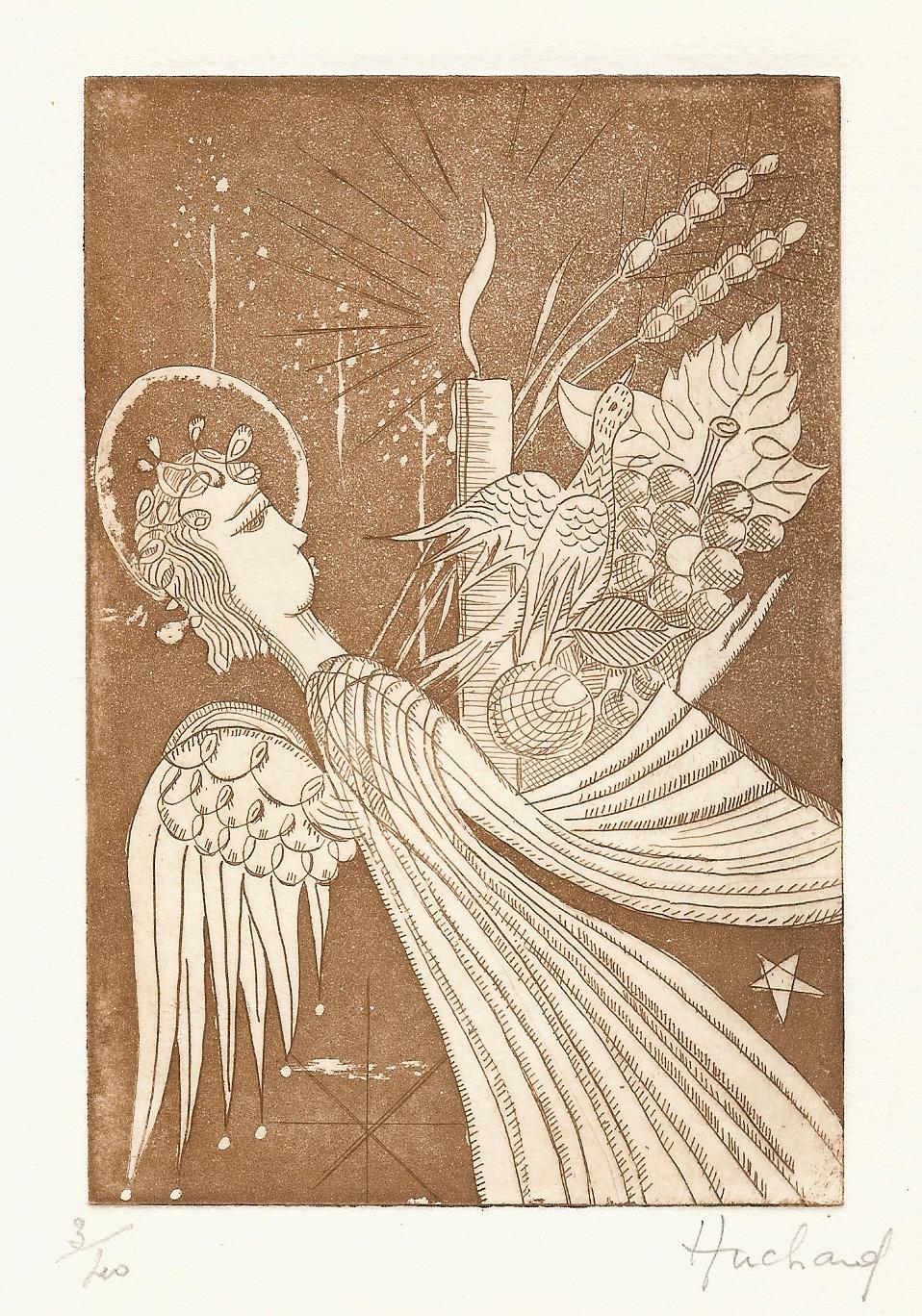 Vierge en terre cuite émaillée