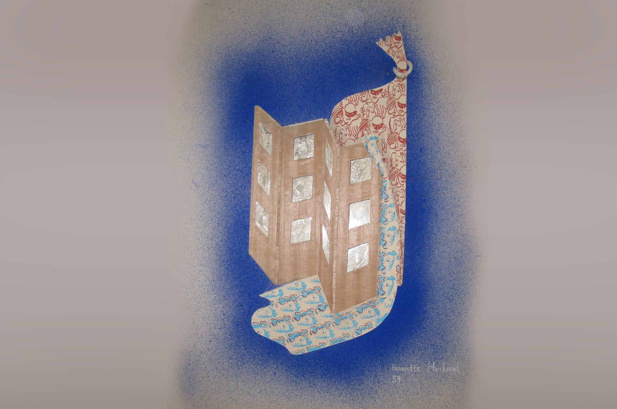Paravent en sycomore et verre gravé 1939 - Huchard