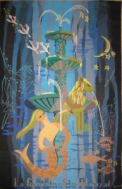 """""""La fontaine de Plauzat"""" tapisserie primée années 70"""